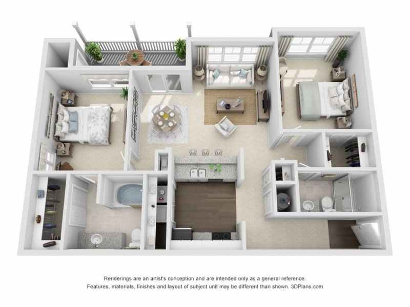 Indianapolis  IN The Timbers Apartments Floor Plans   Apartments in     3D Furnished