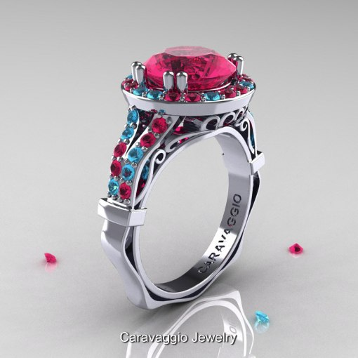 Caravaggio 14K White Gold 3 0 Ct Rose Ruby Aquamarine Engagement     Caravaggio 14K White Gold 3 0 Ct Rose Ruby Aquamarine Engagement Ring  Wedding Ring R620 14KWGAQRR
