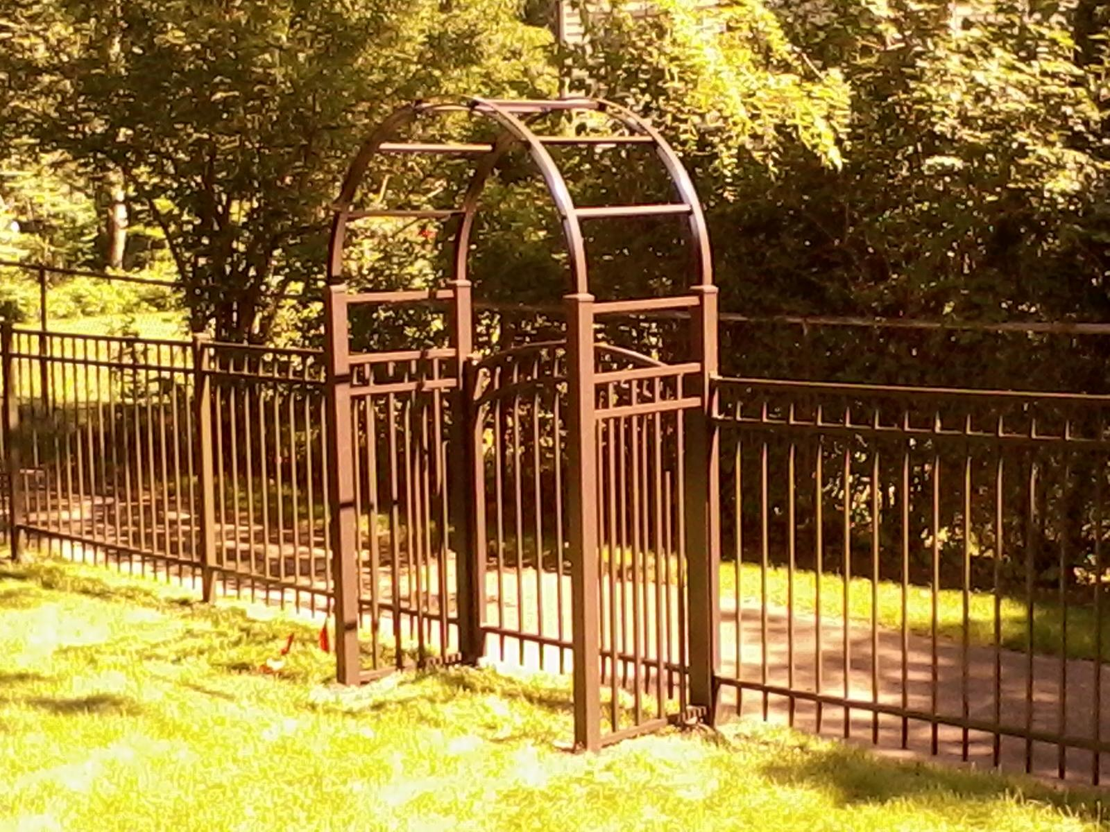 Bronze Aluminum Fence With Arbor Cardinal Fence Amp Supply