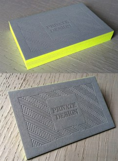 Textured Letterpress Business Card Design With Bright Neon Edge     Textured Letterpress Business Card Design With Bright Neon Edge Painting