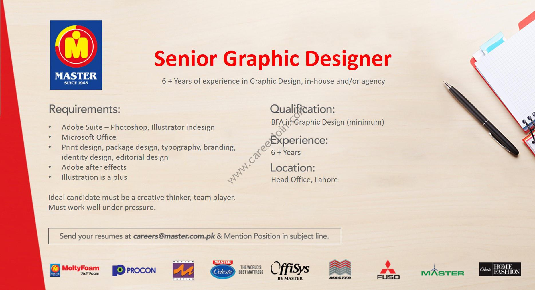 Master Group Of Companies Jobs Senior Graphic Designer
