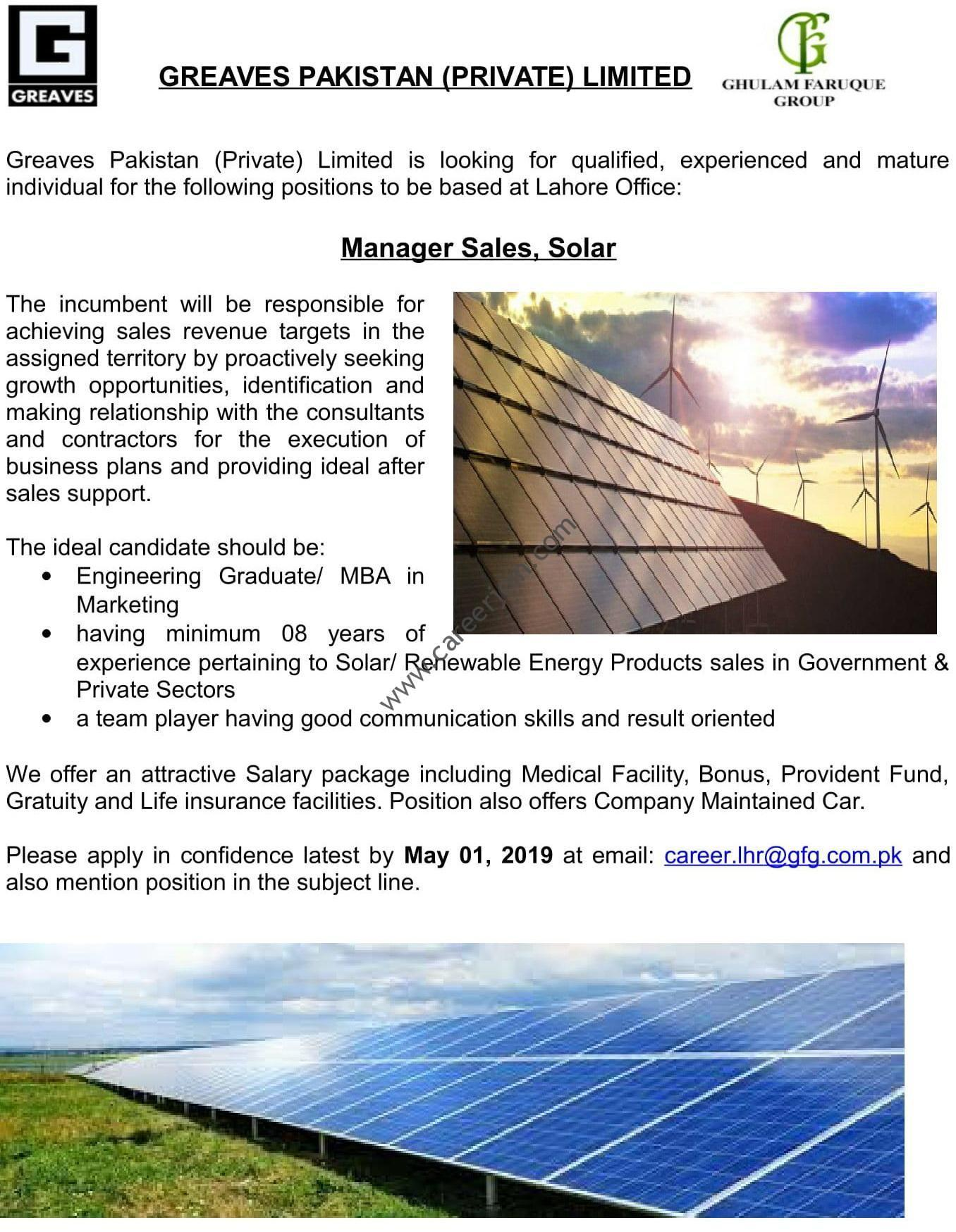 Greaves Pakistan Private Limited Jobs Manager Sales Solar