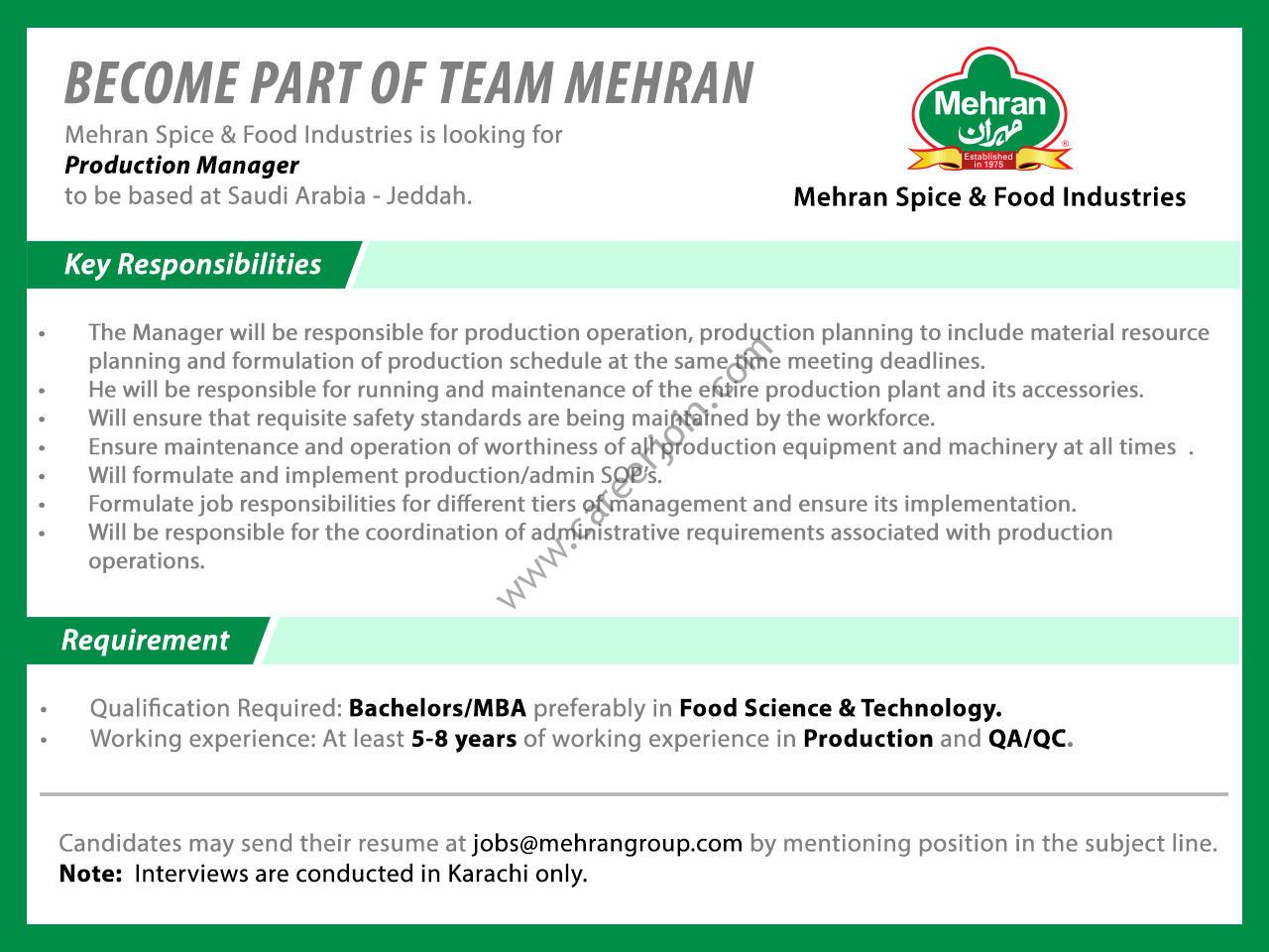 Mehran Spice & Food Industries Jobs Production Manager