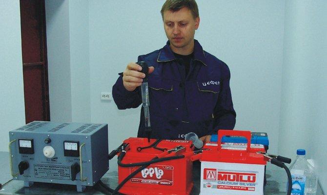 Elektrolit sűrűségmérések az akkumulátorban