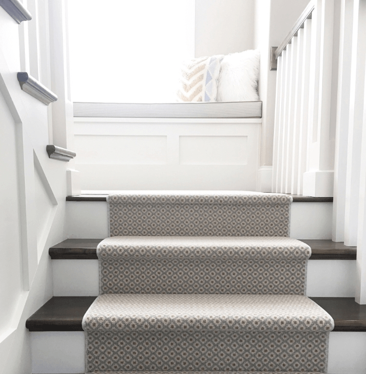 How To Choose And Lay A Stair Runner An Overview Caroline On Design | Stair Carpet With Border | Stairway | Design | Stair Runner Matching Landing | Runner | Cream