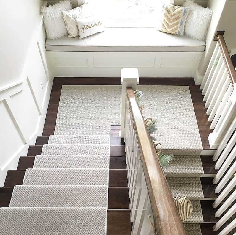How To Choose And Lay A Stair Runner An Overview Caroline On Design | Carpet Landing Wooden Stairs | Patterned | Builder Grade | Light Wood | Red Oak Wood | Hardwood