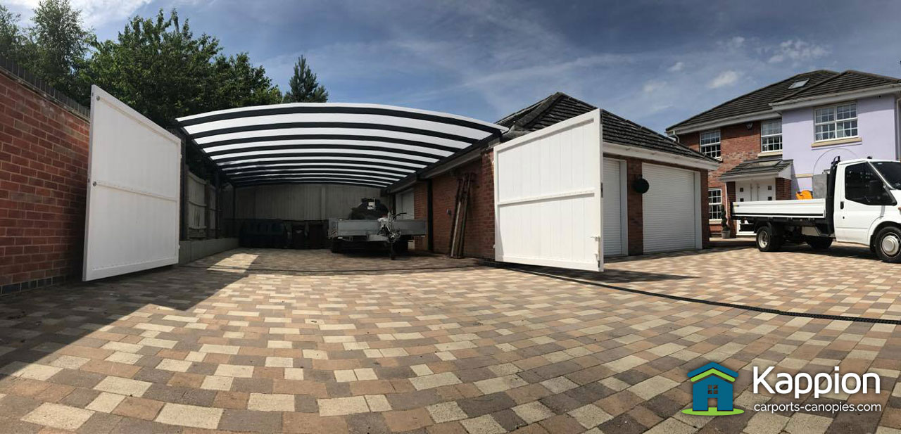 Garage Attached Double Carport Work Area Installed In