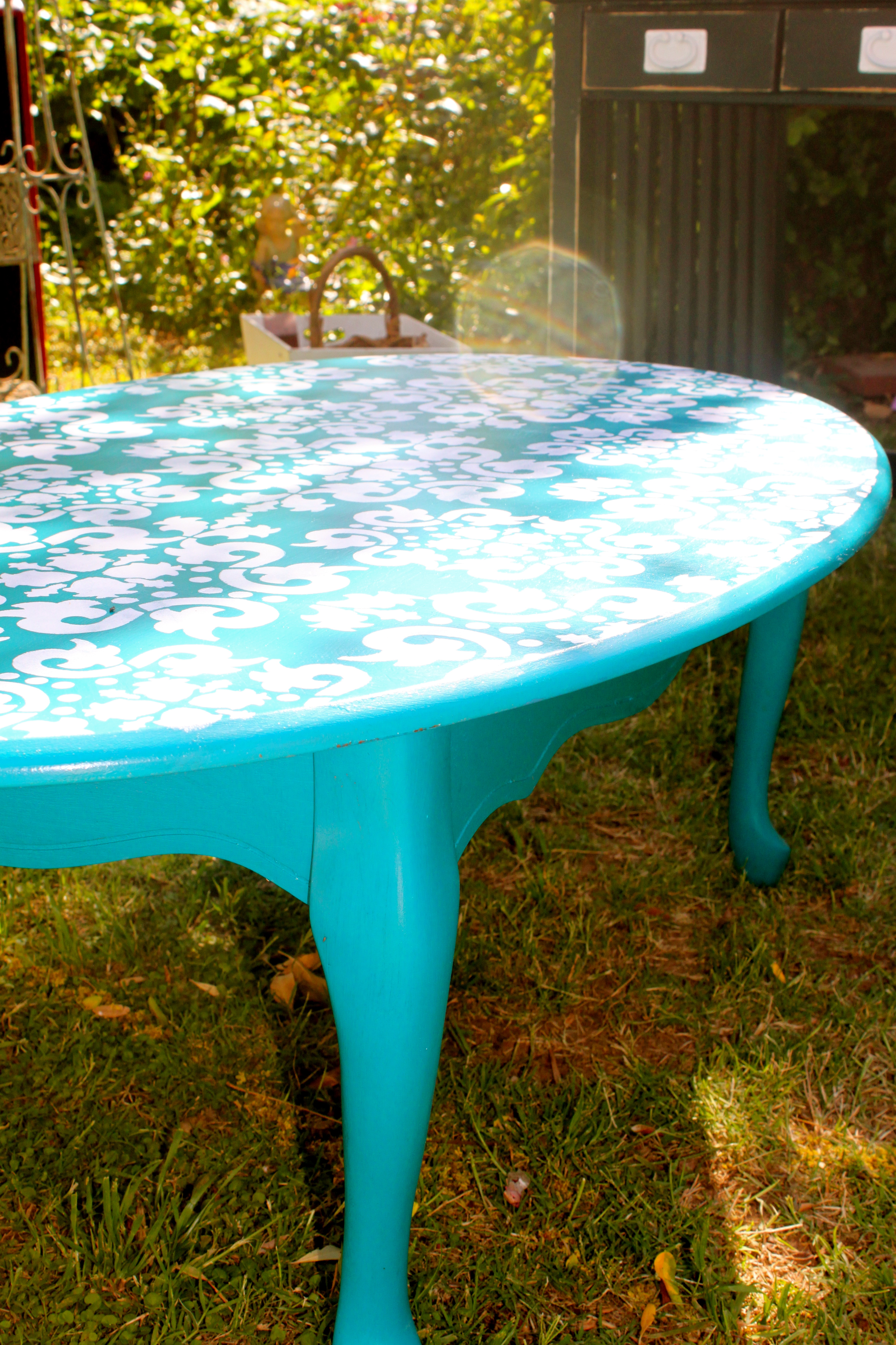 Blue Coffee Table With Elegant White Stenciled Top