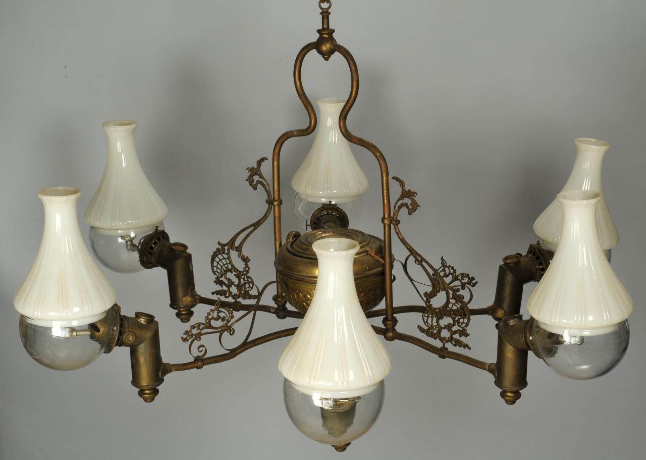 Lot 594 Six Light Angle Lamp Chandelier
