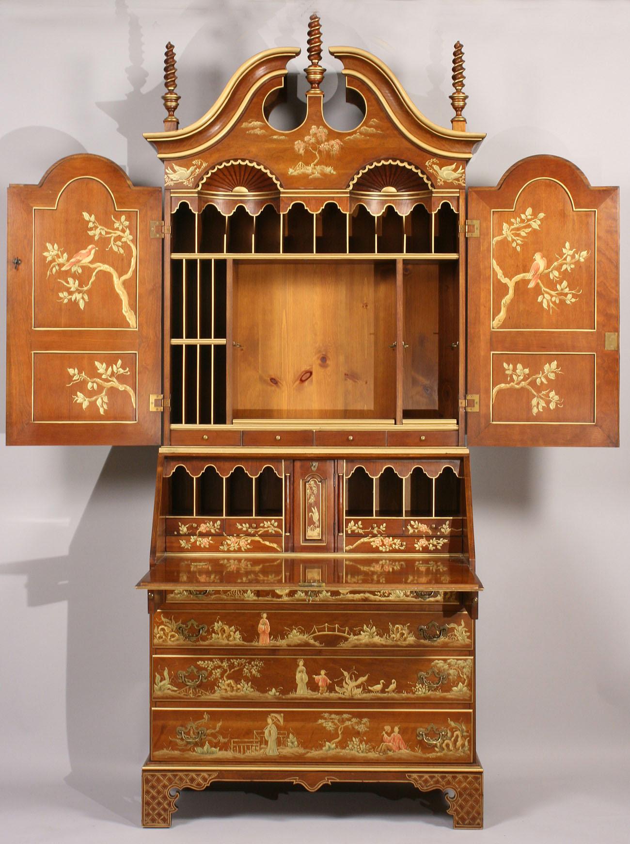 Lot 440 Chinoiserie Secretary Bookcase