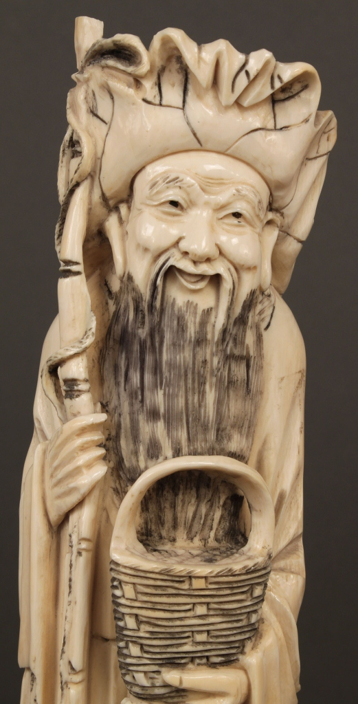 Lot 247 Chinese Carved Ivory Figure Man W Basket Amp Fish