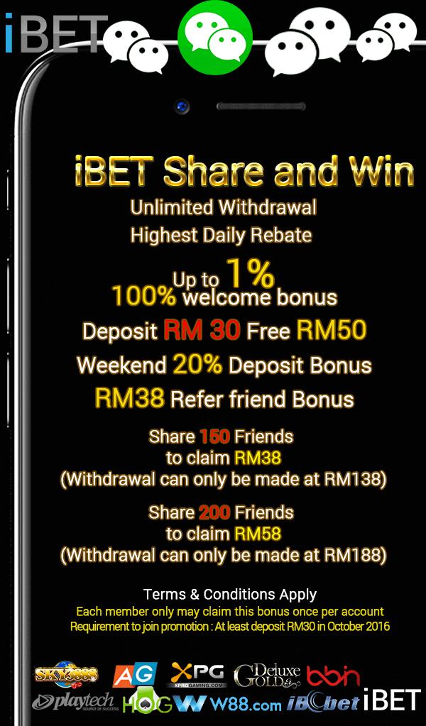 Casino Malaysia Wechat Share Photo Bonus Now