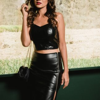 Original Leather Black Skirt with Top