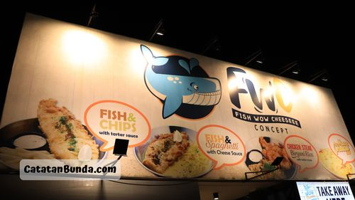 papan nama restoran fish wow cheeseee 2019 - catatan bunda