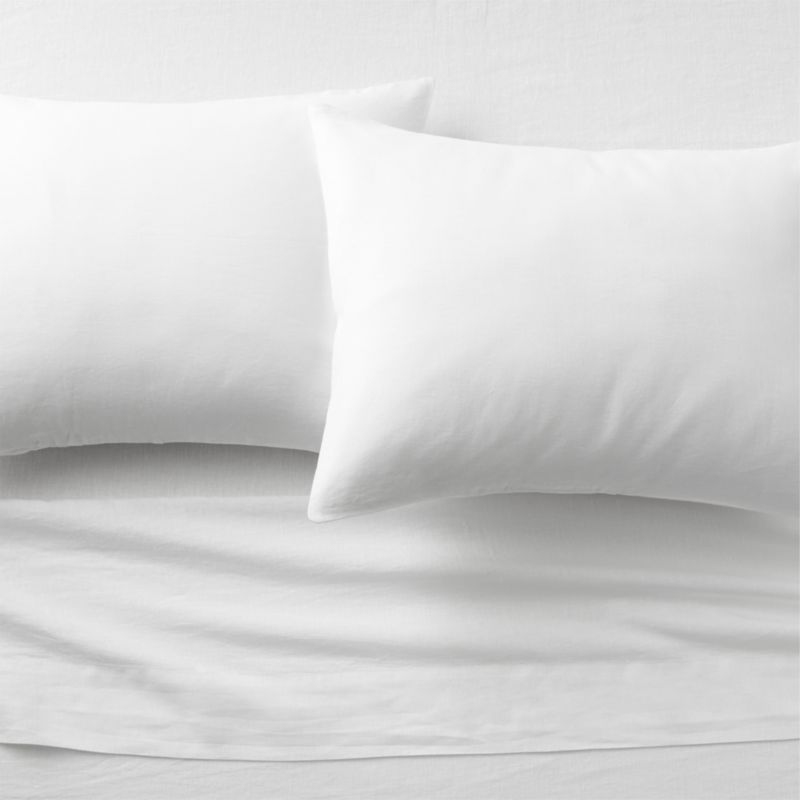 linen white sheet sets   CB2 LinenShtSetQueenWhiteFHF16