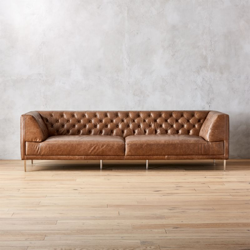 Modern Chesterfield Sofas   CB2 Savile Dark Saddle Leather Tufted Extra Large Sofa