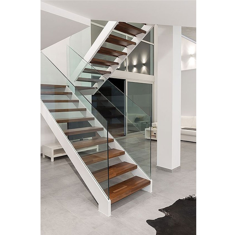 Custom Double Stringer U Shaped Steel Wood Staircase With Glass   Staircase Handrails With Wood And Glass   Tempered Glass   Glass Panel   Wooden   Glass Printing   Solid Wood