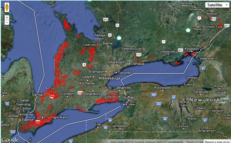 Map of Ontario wind turbine locations   CCSAGE Naturally Green Wayne Gulden has created a very useful map of Ontario s wind turbine  projects and turbine locations