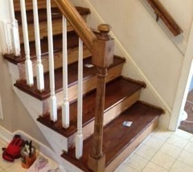 Painting Vs Staining The Newel Post On Staircase Hometalk | Dark Stained Stairs With White Risers | Restain | Tread | 2 Colour | Staining | Glossed