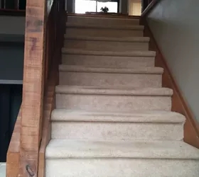 Split Foyer Staircase Gets A Makeover Hometalk | Split Level Entry Stairs | Wood | Half Wall | Stairwell | Raised Bungalow | Interior
