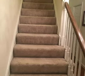 How To Change Stairs From Carpet To Wood Diy Hometalk | Carpet Strips For Steps | Border | Carpeted | Adhesive | Builder Grade | Victorian