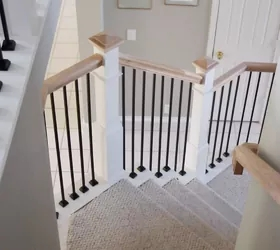How To Paint A Farmhouse Staircase With Chalk Paint Diy Hometalk   Diy Farmhouse Stair Railing   Country Style   U Shaped   Horizontal Bar   Upcycled   Low Cost