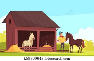 Horse In Stable Clipart U17197482 Fotosearch