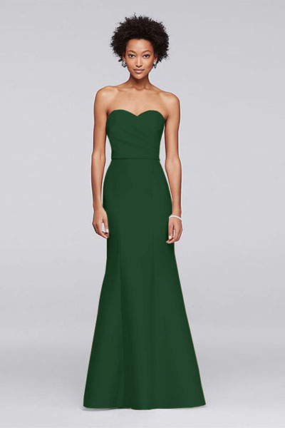 Structured Mikado Strapless Long Bridesmaid Dress   Bycouturier Structured Mikado Strapless Long Bridesmaid Dress