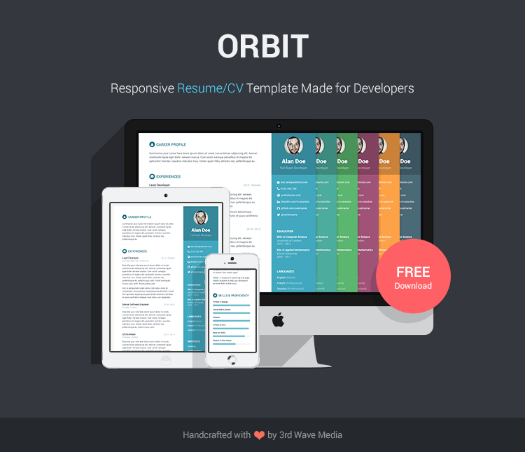 5 of the BEST LOOKING and FREE Resume templates on the internet  Orbit     Free Responsive Bootstrap Resume CV Template for Developers