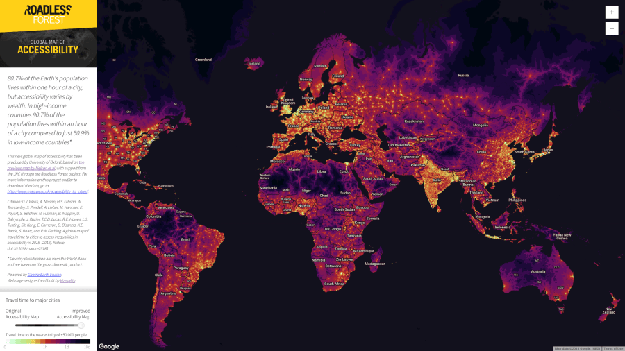 Global map of access to cities published by Nature  But now  with the launch of the new Global Map of Accessibility  you can  view the travel time between almost any point on Earth and the nearest city  in a
