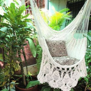 Beige Sitting Hammock  Hanging Chair from hamanica on Etsy Beige Sitting Hammock  Hanging Chair Natural Cotton and Wood plus  Presidential Fringe