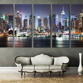 Best New York Skyline Wall Decor Products on Wanelo New York Cityscape Canvas Print Wall Art Multi Panel Wall Decor