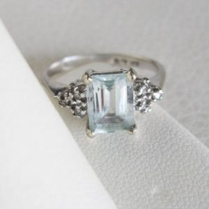 Best Emerald Cut Aquamarine Engagement Ring Products on Wanelo 10k Estate Vintage Emerald cut Aquamarine Ring Gemstone Halo Diamonds White  Gold Art Deco Edwardian Georgian
