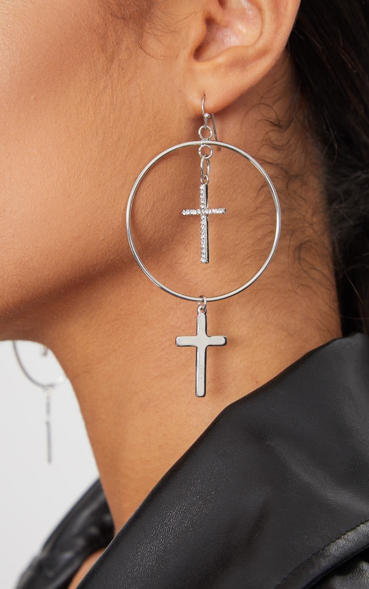 Silver Double Cross Hoop Earrings Prettylittlething