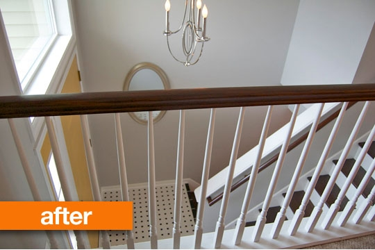 Be Foyer And After An Entryway Makeover Apartment Therapy | Split Level Entry Stairs | Wood | Half Wall | Stairwell | Raised Bungalow | Interior