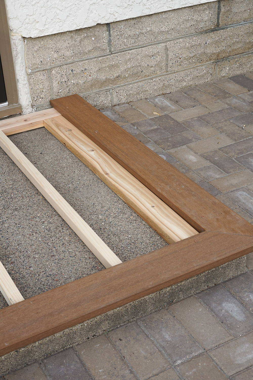 How To Build A Deck Over *Gly Cement Stoop Steps Apartment Therapy | Wood On Concrete Steps | Front Entry | Wood Deck | Clad | Timber Concrete | Above Ground Pool