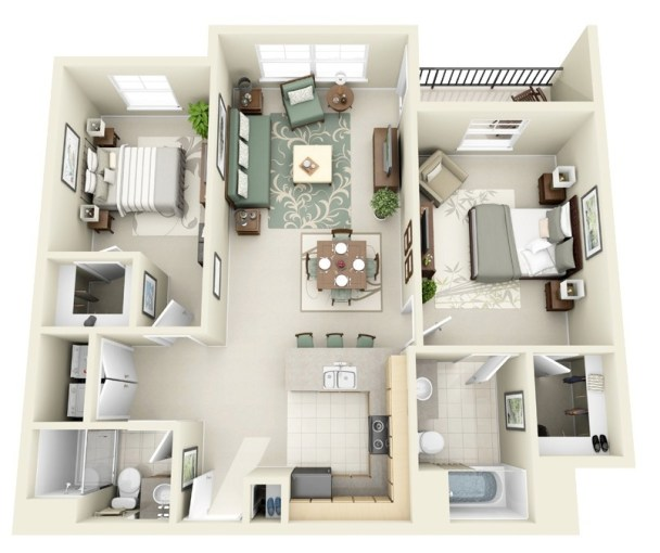 50 Two  2  Bedroom Apartment House Plans   Architecture   Design 28 Large Two Bedroom House Plan