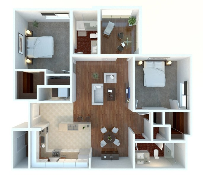 50 Two  2  Bedroom Apartment House Plans   Architecture   Design 29 Minimalist Two Bedroom Apartment