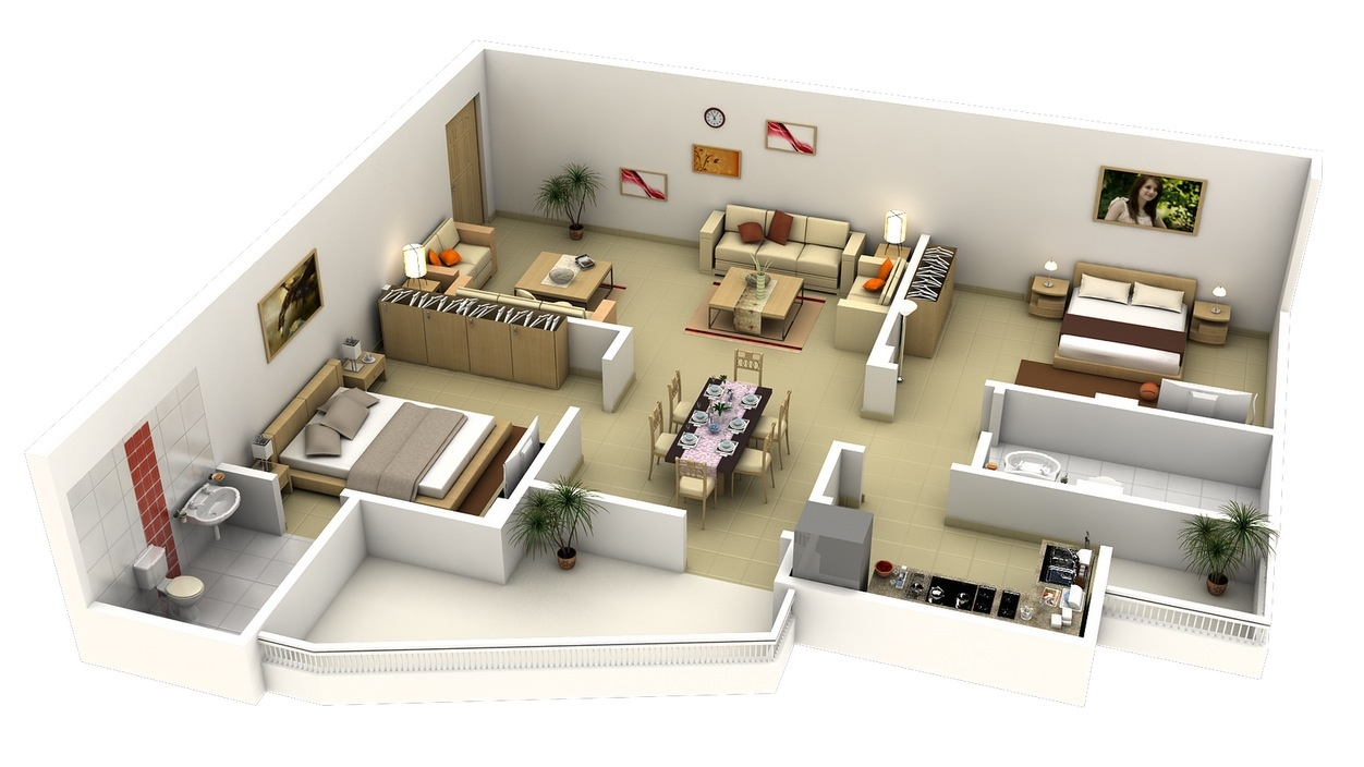 50 Two  2  Bedroom Apartment House Plans   Architecture   Design 41 L Shaped 2 bedroom apartment