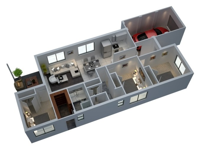 50 Three    3    Bedroom Apartment House Plans   Architecture   Design 39 beautiful 3d floor plans