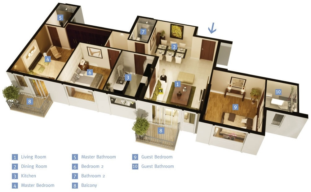 50 Three    3    Bedroom Apartment House Plans   Architecture   Design 45 single story 3 bedroom house