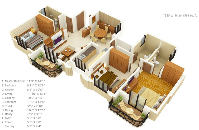 3 Bedroom Apartment Blueprints