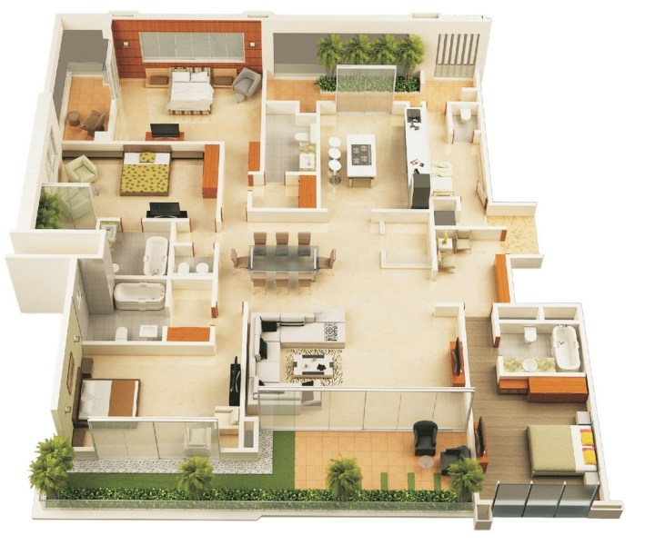 50 Four    4    Bedroom Apartment House Plans   Architecture   Design 1 four bedroom house