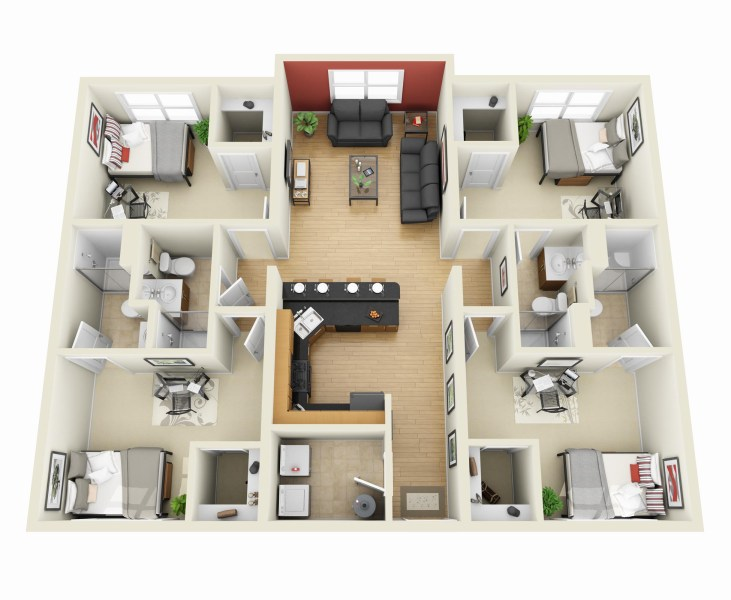 50 Four    4    Bedroom Apartment House Plans   Architecture   Design 43 4 Bedroom 3D