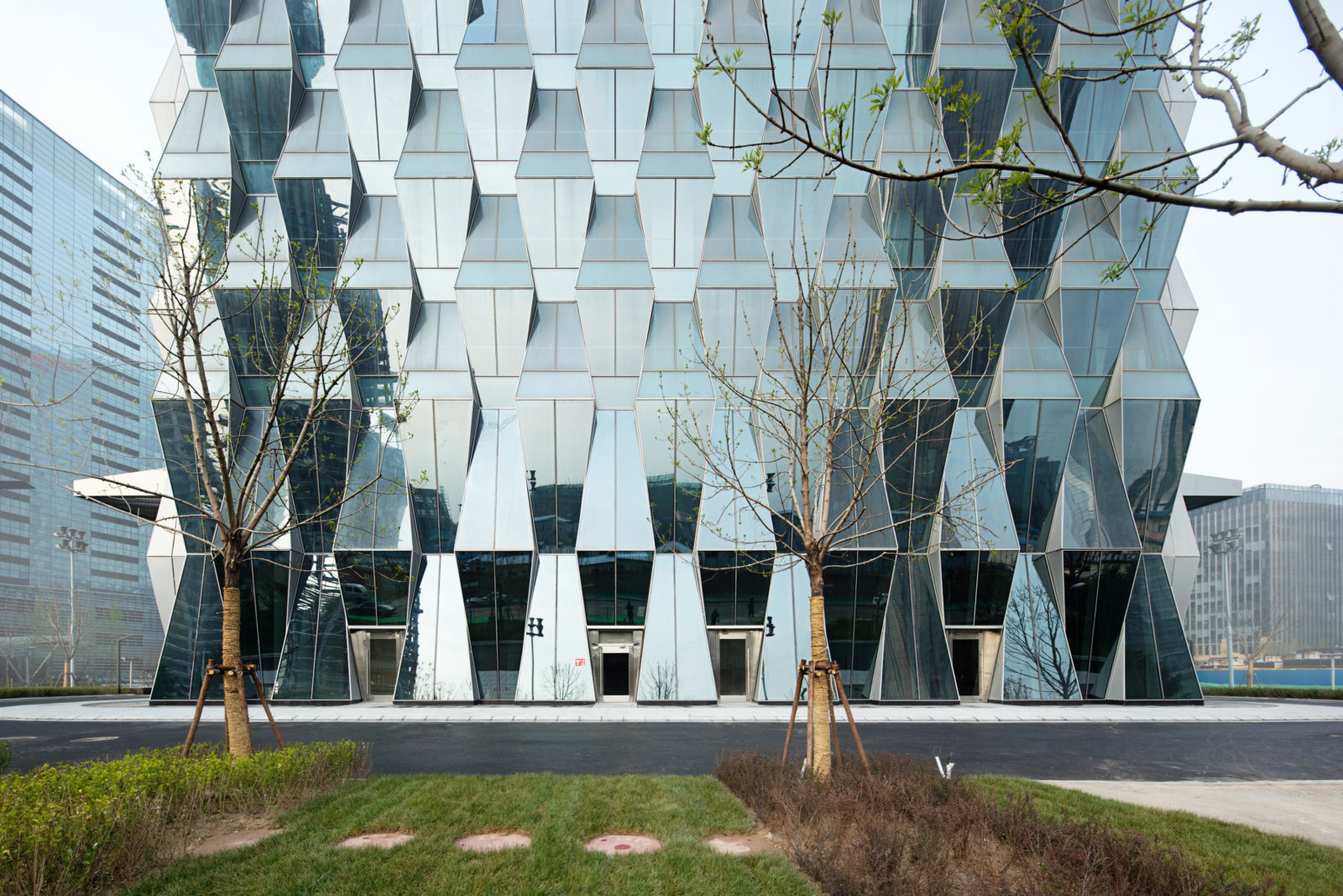 Som Completes Trapezoid Clad Tower In Beijing Archpaper Com
