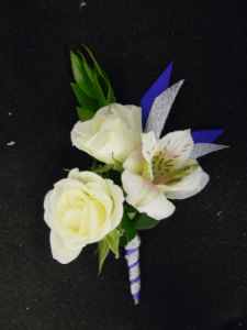 Blue Glitter Boutonniere in Middlebury  VT   COLE S FLOWERS Blue Glitter Boutonniere