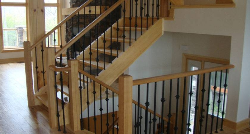 Simple Railings Stairs Inside House Placement Barb Homes | Interior Stairs And Railings | Traditional | Living Room | Crystal | Rectangular Tube | Inside