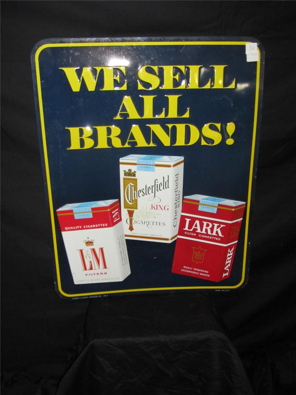 1950s Chesterfield We Sell All Brands Embossed Tin Sign Wit