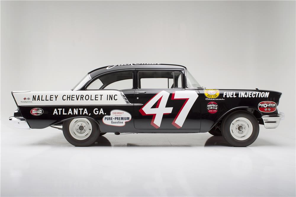 Car 47     1957 CHEVROLET 150 RACE CAR  BLACK WIDOW    Side Profile