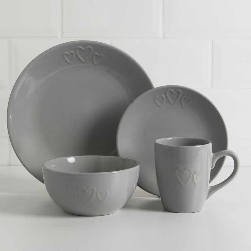 Heart Dinner Set 16pc Grey Dining B Amp M